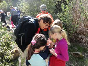 Friends of Rose Canyon President Debby Knight explores wildlife with local schoolchildren.