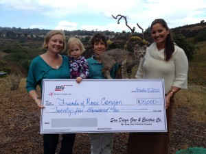 San Diego Gas & Electric awarded Friends of Rose Canyon and the Rose Creek Watershed Alliance $25,000 in 2012 for their Sense of Wonder Program in Rose and San Clemente canyons.